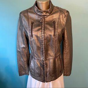 Tribal women's faux leather gold jacket